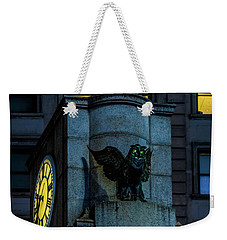 Weekender Tote Bag featuring the photograph The Herald Square Owl by Chris Lord