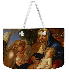 Weekender Tote Bag featuring the painting The Holy Family With Angels by Seastiano Ricci
