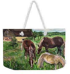 The Horses Of Larochemillay Weekender Tote Bag by Belinda Low