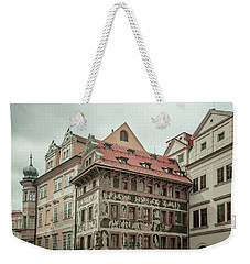 Weekender Tote Bag featuring the photograph The House At The Minute With Graffiti At Old Town Square  by Jenny Rainbow