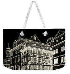 Weekender Tote Bag featuring the photograph The House At The Minute With Graffiti. Black by Jenny Rainbow