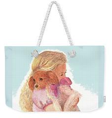Weekender Tote Bag featuring the painting The Hug by Nancy Lee Moran