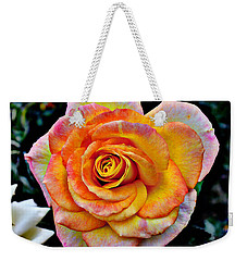 Weekender Tote Bag featuring the mixed media The Imperfect Rose by Glenn McCarthy