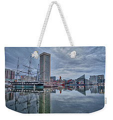 Weekender Tote Bag featuring the photograph The Inner Harbor On A Sunday Cloudy Morning by Mark Dodd