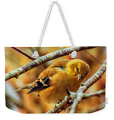 The Inquisitive Goldfinch Weekender Tote Bag by John Harding