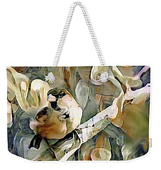 Weekender Tote Bag featuring the mixed media The Inquisitive Sparrow by Susan Maxwell Schmidt