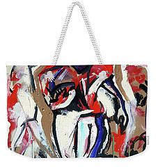 Weekender Tote Bag featuring the painting The Interception by John Jr Gholson