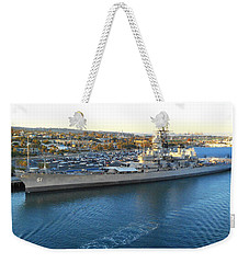Weekender Tote Bag featuring the photograph The Iowa At Sunset by Joe Kozlowski