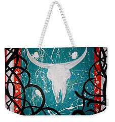 Weekender Tote Bag featuring the painting The Ire by MB Dallocchio