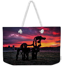 Weekender Tote Bag featuring the photograph The Iron Horse Sun Up by Reid Callaway