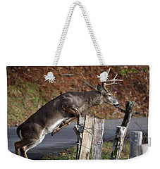 Weekender Tote Bag featuring the photograph The Jumper by Douglas Stucky