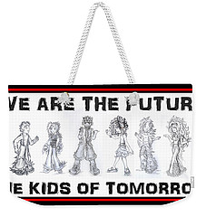 Weekender Tote Bag featuring the drawing The Kids Of Tomorrow 1 by Shawn Dall