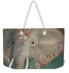 Weekender Tote Bag featuring the painting The King - African Bull Elephant - Kashmir Paisley Tribal Pattern Safari Home Decor by Audrey Jeanne Roberts