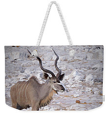 Weekender Tote Bag featuring the digital art The Kudu In Namibia by Ernie Echols
