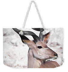 Weekender Tote Bag featuring the digital art The Kudu Portrait by Ernie Echols