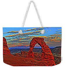 Weekender Tote Bag featuring the photograph The La Sal Mountains And Arch by Scott Mahon