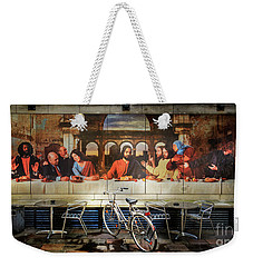 Weekender Tote Bag featuring the photograph The Last Bicycle Discussion by Craig J Satterlee