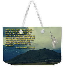 Weekender Tote Bag featuring the photograph The Last Trump by Tikvah's Hope