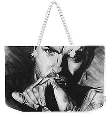 Weekender Tote Bag featuring the painting The Late Great George Michaels by Darryl Matthews