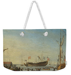 The Launch Of A Man Of War Weekender Tote Bag by Robert Woodcock