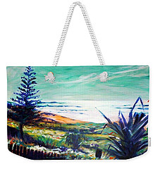 Weekender Tote Bag featuring the painting The Lawn Pandanus by Winsome Gunning
