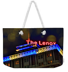 Weekender Tote Bag featuring the photograph The Lenox And The Pru - Boston Marathon Colors by Joann Vitali