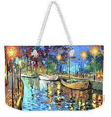 Weekender Tote Bag featuring the painting The Lights Of The Sleeping City by Dmitry Spiros