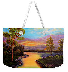 The Liquid Fire Of A Painted Golden Sunset Weekender Tote Bag