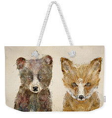 Weekender Tote Bag featuring the painting The Little Bear And Little Fox by Bri B