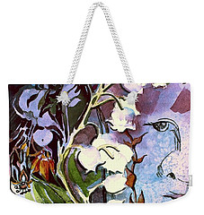 Weekender Tote Bag featuring the painting The Little Gardener by Mindy Newman