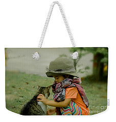 The Little Girl And Her Cat Weekender Tote Bag