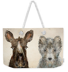 Weekender Tote Bag featuring the painting The Little Wolf And Moose by Bri B