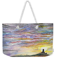Weekender Tote Bag featuring the digital art The Living Sky by Darren Cannell
