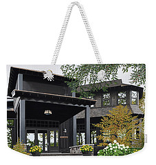 Weekender Tote Bag featuring the painting The Lodge At Fawn Island by Kenneth M Kirsch