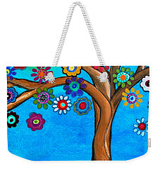 Weekender Tote Bag featuring the painting The Loving Tree Of Life by Pristine Cartera Turkus