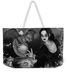 The Magic Rose - Black And White Fantasy Art Weekender Tote Bag