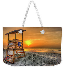 Weekender Tote Bag featuring the photograph The Main Attraction Tybee Island Sunrise Lifeguard Stand Beach Art by Reid Callaway