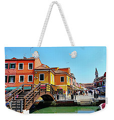 The Main Street On The Island Of Burano, Italy Weekender Tote Bag