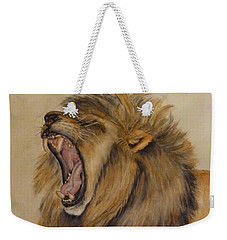 Weekender Tote Bag featuring the painting The Majestic Roar by Kelly Mills