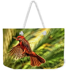 The Male Cardinal Approaches Weekender Tote Bag