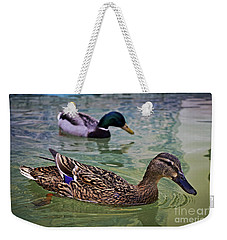 Weekender Tote Bag featuring the photograph The Mallard Pair by Mary Machare