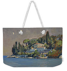 Weekender Tote Bag featuring the painting The Mansion House Paxos by Nop Briex