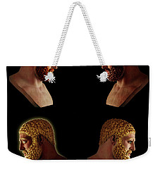 Weekender Tote Bag featuring the mixed media The Many Faces Of Hercules 2 by Shawn Dall