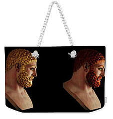 Weekender Tote Bag featuring the mixed media The Many Faces Of Hercules by Shawn Dall