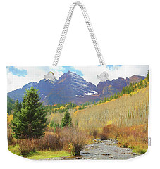 Weekender Tote Bag featuring the photograph The Maroon Bells Reimagined 3 by Eric Glaser
