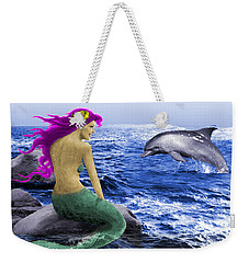 The Mermaid And The Dolphin Weekender Tote Bag