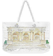 The Met In Watercolor - Large File Original Weekender Tote Bag