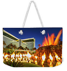 The Mirage Casino And Volcano Eruption At Dusk Weekender Tote Bag by Aloha Art
