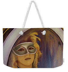 Weekender Tote Bag featuring the painting The Mirror And The Mask Portrait Of Kelly Phebus by Ron Richard Baviello