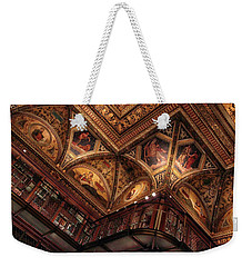 Weekender Tote Bag featuring the photograph The Morgan Library Ceiling by Jessica Jenney